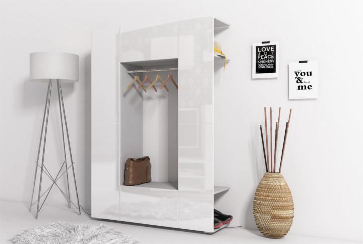 Garderobe CUBE 8 Grau + Weiß hochglanz - MOEBLINE.DE