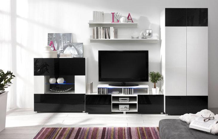Wohnzimmer   Set GORDIA 5 Weiß+Schwarz