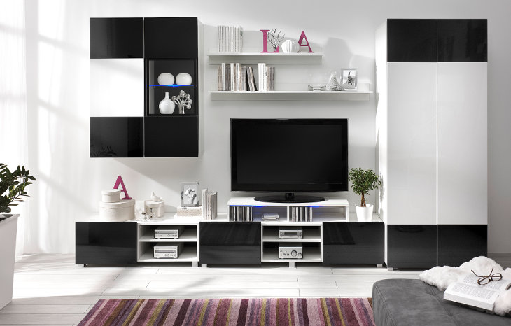 Hochwertig Wohnzimmer   Set GORDIA 6 Weiß+Schwarz