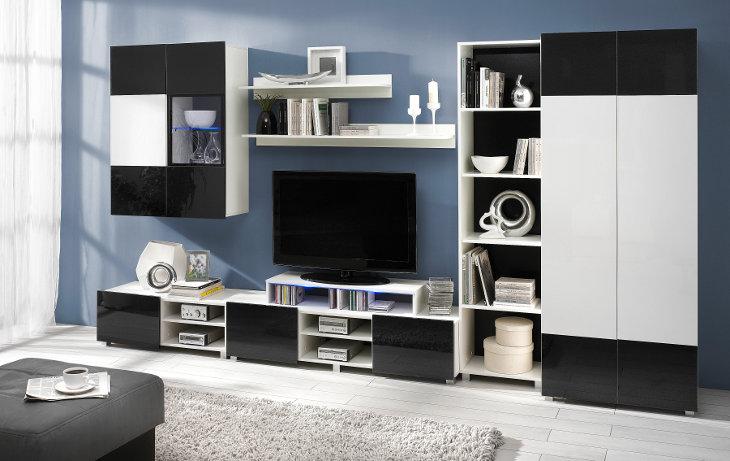 Wohnzimmer   Set GORDIA 7 Weiß+Schwarz