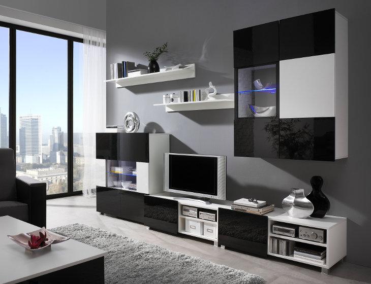 Wohnzimmer   Set GORDIA 8 Weiß+Schwarz