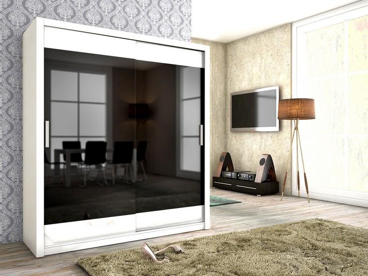 Schwebetürenschrank VERA 180 Eiche Sonoma / Weiß Matt + Schwarz Glas ...