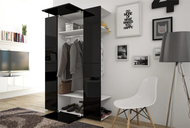 garderobe cube 4 wei schwarz hochglanz moebline de. Black Bedroom Furniture Sets. Home Design Ideas